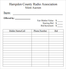 Bid Sheets For Silent Auction Template Free Contractor Bid Forms Bidproposalformcom Lawn Care