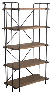 cobek 5 shelf industrial wood bookcase brown industrial