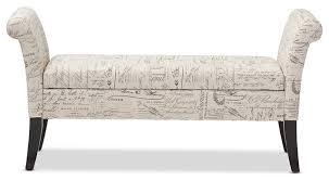 avignon script patterned french laundry fabric storage ottoman