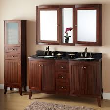 Double Vanity With Tower Bathroom Extraordinary Towel Cabinet Linen Cabinet With Hamper