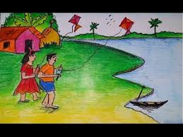 how to draw a scenery of kite flying step by step youtube