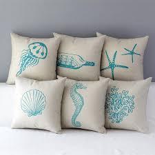 Burlap Decorative Pillows Ocean Painted Cushion Covers Blue Starfish Decorative Throw Pillow