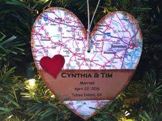 met engaged married ornament love story map ornament map heart