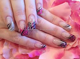 black pink and silver freehand nail art over acrylic nails nail