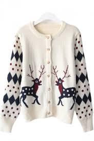 37 98 womens polka dot reindeer winter cardigan