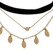 black neck choker necklace images Danielle nicole quot momiji quot black and goldtone triple layer choker jpg