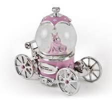 extraordinary pink and silver tale princess snow globe musical