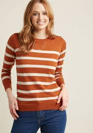charter sweater charter pullover sweater in striped orange modcloth