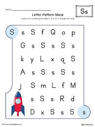 uppercase letter s maze worksheet color myteachingstation com