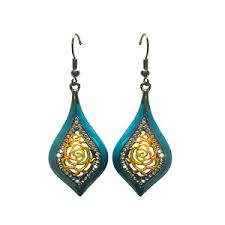 arabian earrings viennois blue arabia design drop earrings strelitzia jewelry