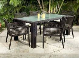 Allen Roth Patio Set Niles Park Led Lighted Glass Top Patio Dining Table Mainstays