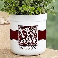 personalized flower pot personalized outdoor flower pot floral monogram