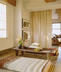 beige curtain with cream colored wall for nice meditation room