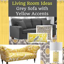 grey sofa living room with yellow accents home decor muse