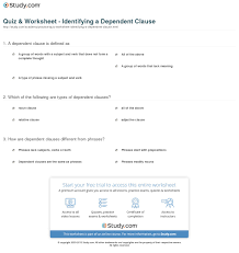 quiz u0026 worksheet identifying a dependent clause study com