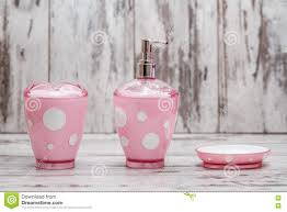set of cute pink bathroom accessories stock photo image 70948434
