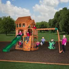 backyard discovery liberty ii wooden swing set academy