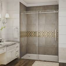 glass door in bathroom aston moselle 60 in x 75 in completely frameless sliding shower