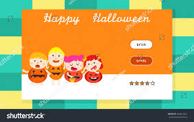 halloween children background flat ui design cartoon illustration happy stock vector 308251301