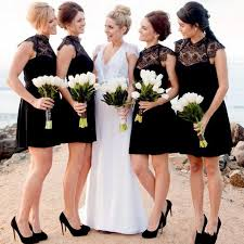 black short lace bridesmaid dresses 2017 high neck cap sleeves