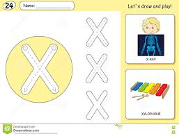 Free Alphabet Tracing Worksheets Cartoon X Ray Boy And Xylophone Alphabet Tracing Worksheet Stock
