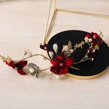 fashion vintage gold color headband butterfly flower hairband