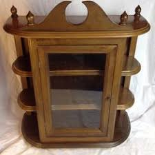 Wall Curio Cabinet With Glass Doors Wood Tone Wall Curio Cabinet Miniature Shelf Wall Mount