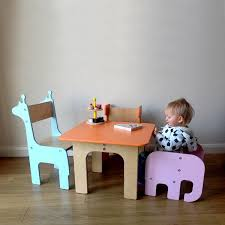 kids animal table and chairs handmade children s furniture fun animal shapes choice of colours