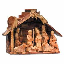 large olive wood religious ornaments of nativity