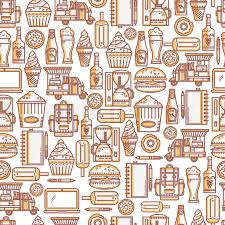 seamless pattern food food truck seamless pattern in a linear style ideal for design of