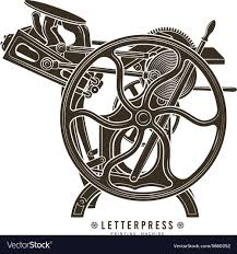 letterpress printing letterpress printing machine royalty free vector image