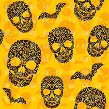 halloween yellow seamless background with ornate skulls and bats