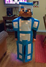 Minecraft Enderman Halloween Costume Son U0027s Minecraft Diamond Armor Steve Costume Halloween