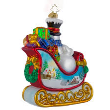 christopher radko ornaments radko snowy gift sleigh ride