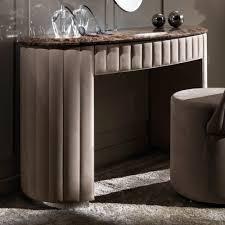Curved Designer Nubuck Leather Marble Dressing Table Juliettes - Designer dressing tables