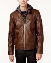 hooded motorcycle jacket guess men u0027s faux leather detachable hood motorcycle jacket in
