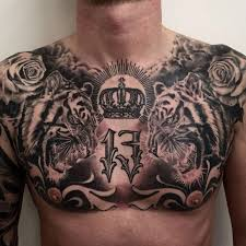 angry tiger head tattoo on chest tiger head chest tattoo awesome