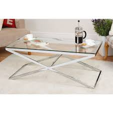 Chrome And Glass Coffee Table Anikka Coffee Table Chrome Stand Glass Top