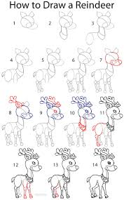 how to draw a reindeer step by step drawing tutorial with pictures