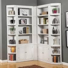 home decoration oversized white corner bookshelves with shutter
