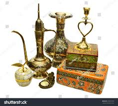 collection indian utensils ornamental objects isolated stock photo