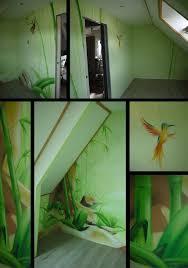 deco chambre jungle idees en chambre fille coucher mur graffiti ma graph urbaine la lit