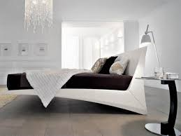 stylish masculine white floating bed frame with headboard under