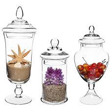 mygift set of 3 clear glass apothecary jars decorative kitchen