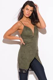 shop olive green faux suede leather trim low v neck sweetheart