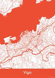 Vigo Spain Map by Vigo Map Roads Vigo Print City Map Art Of Vigo Spain