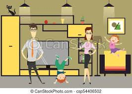 home interior vector family and in home vector