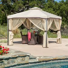 Metal Pergola Frame 10ft x 10ft steel frame gazebo with polyester canopy and screen in