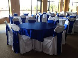 royal blue horizon sashes overlay chair cover rental munster