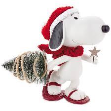 peanuts snoopy pulling christmas tree figurine figurines hallmark